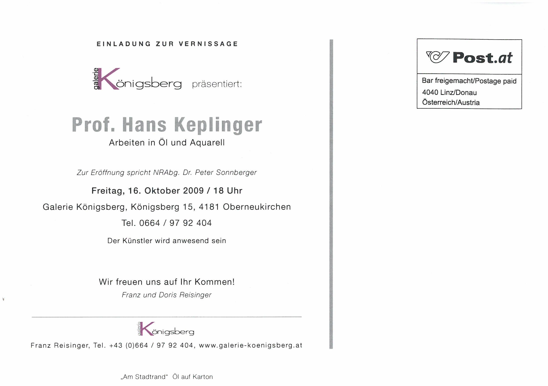 Die Einladung Prof. Hans Keplinger